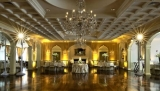 Saucon Valley CC Ballroom - Ballroom with amber uplighting and pinspotting.