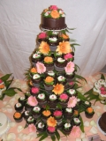 Cup Cake Wedding Tower - Buttercream cupcakes with flowers