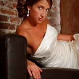 Allentown Brew Works - A beautiful bride relaxes on a couch at Allentown Brew Works.